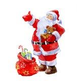 Akwarela Bożenarodzeniowy Święty Mikołaj z prezentem Zdjęcie Stock