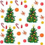 akwarela Bożenarodzeniowy skład drzewa, gwiazdy, płatek śniegu i piłki, royalty ilustracja