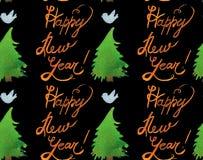Akwarela Bożenarodzeniowy wakacyjny bezszwowy wzór z drzewami, ptaki i szczęśliwy nowy rok, kopiujemy Zima nowego roku temat royalty ilustracja
