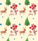Akwarela Bożenarodzeniowy wakacyjny bezszwowy wzór z jagod, drzew, jeleniej i szczęśliwej nowy rok kopią, Zima nowego roku temat royalty ilustracja