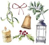 Akwarela Bożenarodzeniowy wystrój z rośliną i jagodami Wręcza malującego eukaliptusa, snowberry, dzwon, czerwony łęk, świeczka, j ilustracja wektor