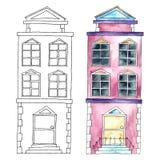 Akwarela budynki royalty ilustracja