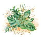 Akwarela bukiet z tropikalnymi liśćmi i kwiatami, akwareli plamy royalty ilustracja