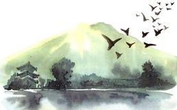 Akwarela chińczyka krajobraz Fotografia Stock