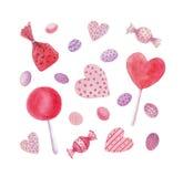 Akwarela cukierki, cukierki, serca, lizaki royalty ilustracja