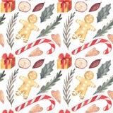 Akwarela cukierku trzcina, holly, bezszwowy wzór akwareli tekstura ilustracji