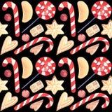 Akwarela cukierku trzciny Bożenarodzeniowych imbirowych ciastek bezszwowy wzór ilustracji