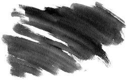 Akwarela czarnego zmroku popielaty uderzenie z szczotkarską ` s teksturą odizolowywającą na białym tle, minimalistic monochromaty Zdjęcie Stock