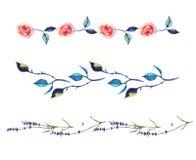 Akwarela dekoracyjni elementy - interny z różanym i lawendowym Zdjęcie Royalty Free