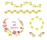 Akwarela dekoracyjni elementy z koloru żółtego i menchii kwiatami Obraz Royalty Free