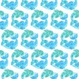 Akwarela delfinu Doodle Mehndi Etniczna ilustracja Obraz Stock