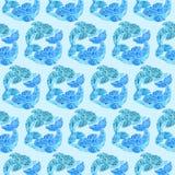 Akwarela delfinu Doodle Mehndi Etniczna ilustracja ilustracja wektor
