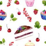 Akwarela deserów bezszwowy wzór z tortami, czerwonym rodzynkiem i wiśniami, Zdjęcia Stock