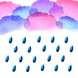 Akwarela deszczu krople ilustracji