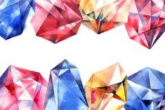 Akwarela diamentu kryształy Obrazy Stock