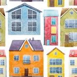 Akwarela domów wzór Zdjęcie Royalty Free