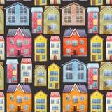Akwarela domów wzór Zdjęcia Royalty Free