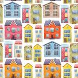 Akwarela domów wzór Obraz Stock