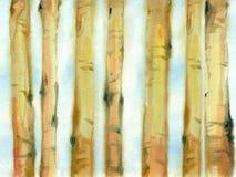 Akwarela drzewni bagażniki Obrazy Royalty Free