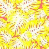 Akwarela egzotyczni z?oci?ci tropikalni li?cie wz?r, kwiaty i pieprzojad dla po?lubia?, zapraszaj?, urodzinowa karta Odosobniony  royalty ilustracja