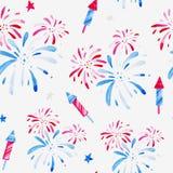 Akwarela fajerwerków festiwalu wzór dla wakacji, 4th Lipiec, Jednoczących Twierdzić dzień niepodległości Projekt dla druku, karta Obrazy Royalty Free