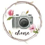 Akwarela fotografa ilustracja z rocznik fotografii kamerą, wiankiem gałąź i magnolią, kwitnie Ręka rysujący wiosna loga iso ilustracja wektor