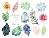 Akwarela guasz odizolowywa kolorowych Crytal grona Gemstone kamienia elementy na białym tle royalty ilustracja