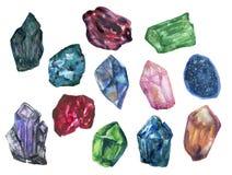 Akwarela guasz odizolowywa kolorowych Crytal grona Gemstone kamienia elementy na białym tle ilustracji