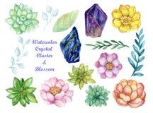 Akwarela guasz odizolowywa kolorowych Crytal grona Gemstone kamienia elementy na białym tle ilustracja wektor