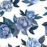 Akwarela guaszu rocznika róży tła bezszwowy wzór ilustracja wektor