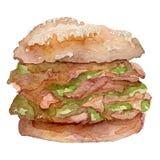 Akwarela hamburgeru ręka malująca Obrazy Royalty Free