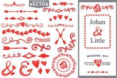Akwarela Handscetched Doodle granica, wystrój Miłość Zdjęcie Royalty Free