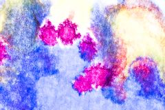 Akwarela i akrylowy abstrakt kolorowe t?o Mieszanka, plu?ni?cia i rysunki kolory: b??kit, czerwie?, kolor ? zdjęcie stock