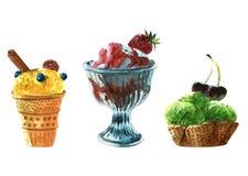 Akwarela ilustracyjnego lody kolorowi odosobneni przedmioty na białym tle dla reklamy royalty ilustracja