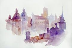 Akwarela ilustracyjny Europejski widok Zdjęcie Royalty Free