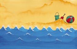 Akwarela ilustracyjny pokazuje ocean, fala, piasek Obrazy Stock