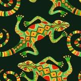 Akwarela kaktusa bezszwowy wzór z jaszczurkami Obrazy Stock
