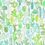 Akwarela kaktusowy bezszwowy wzór royalty ilustracja