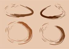 Akwarela kleksy od kawy lub Kawowej plamy wektor ilustracji