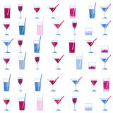 Akwarela koktajlu i wineglass szkła bezszwowy wzór na białym tle Obrazy Stock