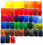 Akwarela kolorowy kwadrat tafluje tło abstrakta wzór Zdjęcie Royalty Free