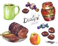 Akwarela kolorowy tort z karmelu kumberlandu herbatą lub latte śniadanie Obrazy Royalty Free