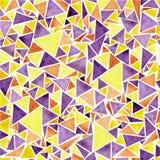 Akwarela koloru żółtego i purpur trójboka wzór Ilustracja Wektor