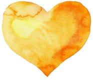 Akwarela koloru żółtego serce Zdjęcie Royalty Free