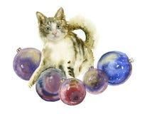 Akwarela kot z Bożenarodzeniowymi piłkami Zdjęcie Royalty Free