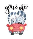 Akwarela koty w właśnie zamężnym czerwonym samochodzie Zdjęcia Royalty Free