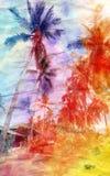 Akwarela krajobraz z drzewkami palmowymi retro Obrazy Stock