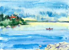 Akwarela krajobraz z jeziorem Zdjęcie Royalty Free