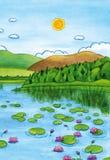 Akwarela krajobraz z jeziorem, wodnymi lelujami i górami, royalty ilustracja