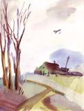 akwarela krajobrazowa ilustracja wektor